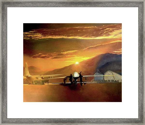 Mq-1 Predator Titled Anytime Anyplace Framed Print