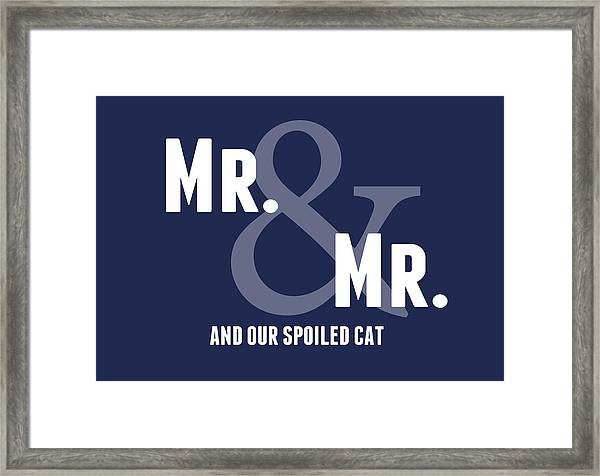 Mr And Mr And Cat Framed Print