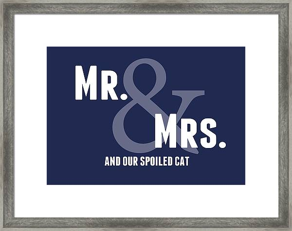 Mr And Mrs And Cat Framed Print