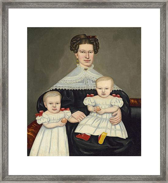 Mrs Paul Smith Palmer And Her Twins Framed Print