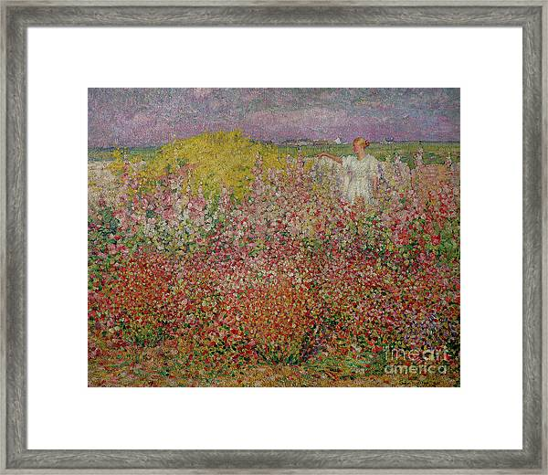 Mrs Russell Amongst The Flowers At Belle Isle Framed Print
