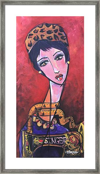 Ms. Bimba Fashionable Seamstress Framed Print