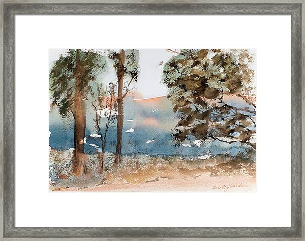 Mt Field Gum Tree Silhouettes Against Salmon Coloured Mountains Framed Print