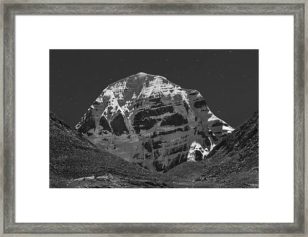 Mt. Kailash In Moonlight, Dirapuk, 2011 Framed Print
