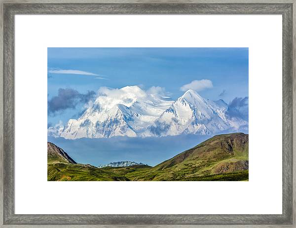 Mt Mckinley Materializes Out Of The Clouds. Framed Print