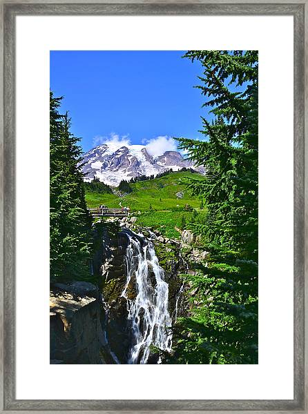 Mt. Rainier From Myrtle Falls Framed Print