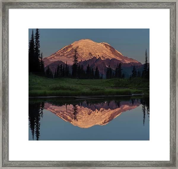 Mt Rainier Mirror Image Framed Print by Angie Vogel