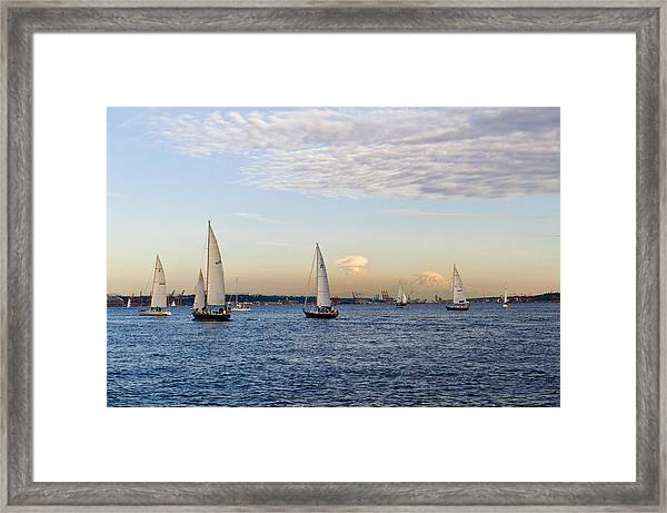 Mt Rainier Sailing Framed Print by Tom Dowd