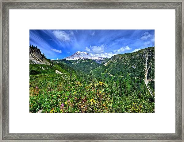 Mt. Rainier Through The Clouds  Framed Print