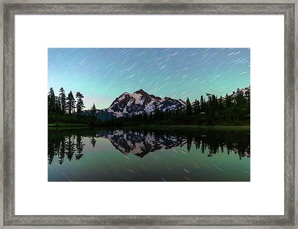 Mt Shuksan And Star Trails Framed Print