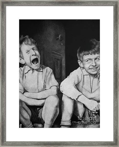 Mucky Kids 3 Framed Print by Sheryl Unwin