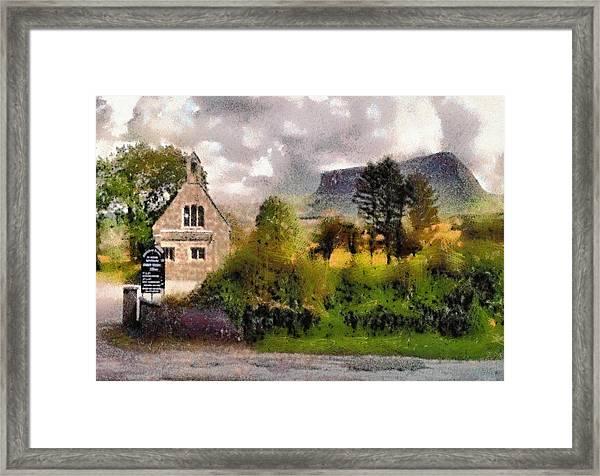 Mullaghnaneane Church And Ben Bulben Framed Print