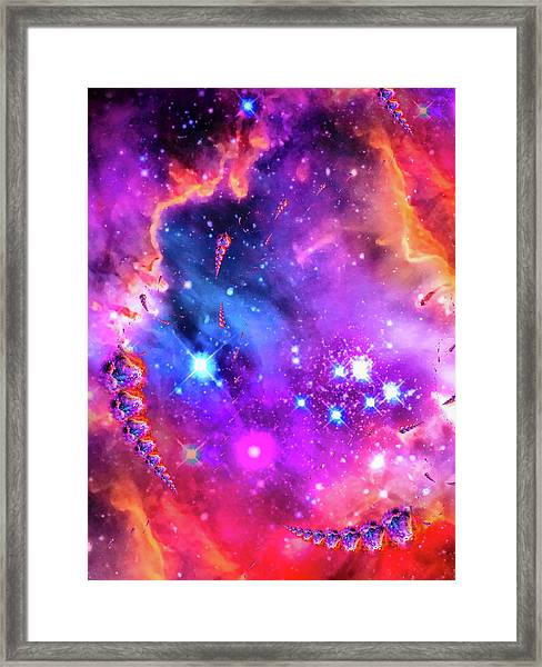 Multi Colored Space Chaos Framed Print