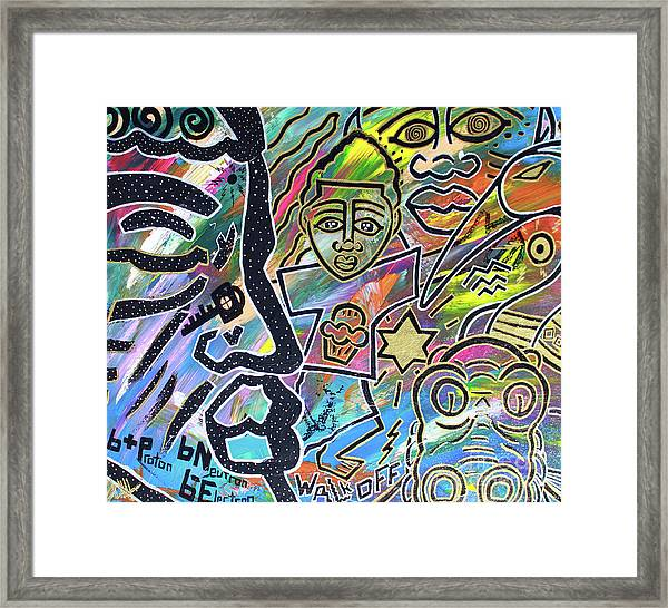 Multi-dimensional Beings Stepping Out The Body Walking Through The Cosmos Framed Print