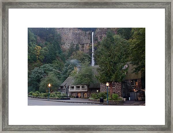 Multnomah Falls Lodge Morning Framed Print
