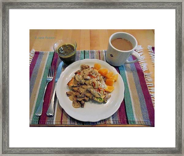 Mushroom Gravy Over Breakfast Quiche  Framed Print
