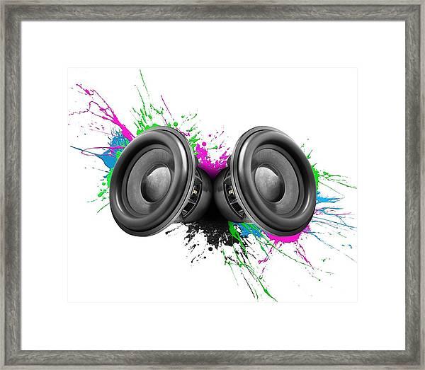 Music Speakers Colorful Design Framed Print