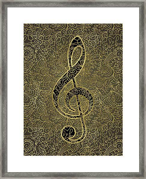 Music Treble Clef - Gold Whisper Framed Print