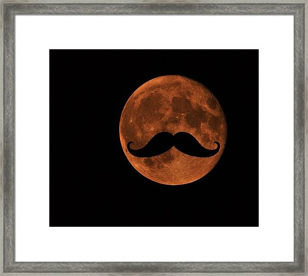 Mustache Moon Framed Print