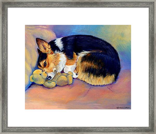 My Baby Pembroke Welsh Corgi Framed Print by Lyn Cook