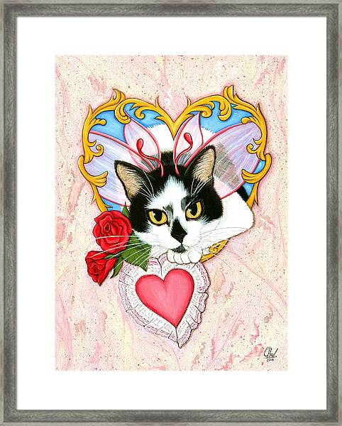 My Feline Valentine Tuxedo Cat Framed Print
