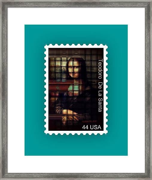My Mona Lisa Stamp Series Framed Print by Teodoro De La Santa