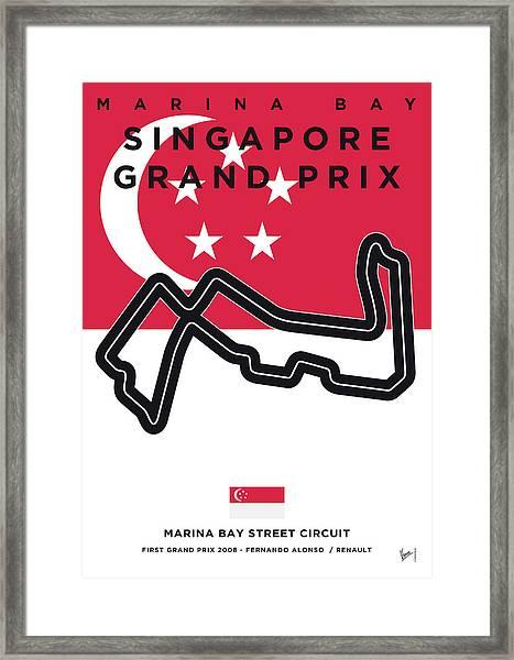 My Singapore Grand Prix Minimal Poster Framed Print