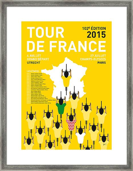 My Tour De France Minimal Poster Etapes 2015 Framed Print