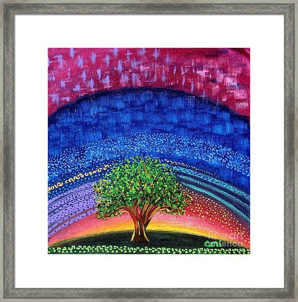 Tree At Nightfall Framed Print