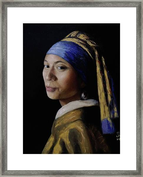 My Wife With A Pearl Earring Framed Print