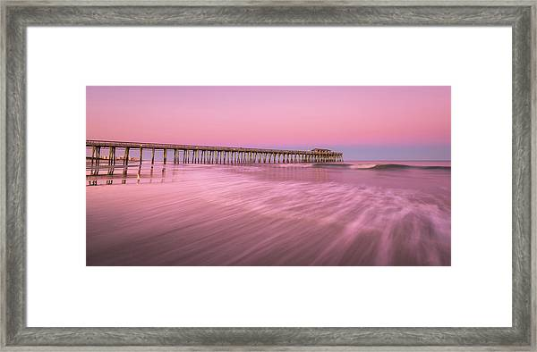 Framed Print featuring the photograph Myrtle Beach Fishing Pier At Sunset Panorama by Ranjay Mitra
