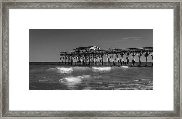 Myrtle Beach Pier Panorama In Black And White Framed Print