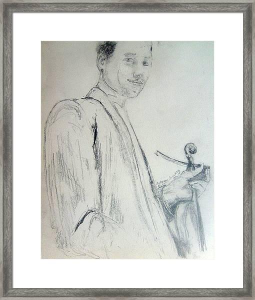 Myself With A Violin Framed Print
