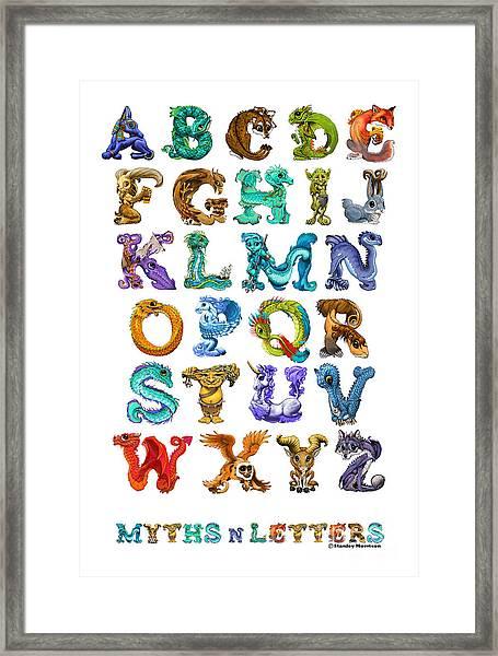 Myths N Letters Framed Print