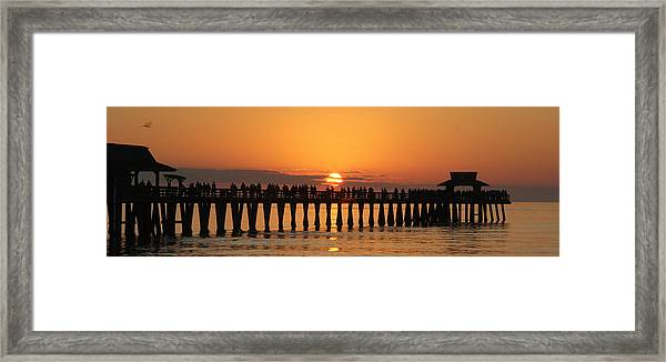 Naples Pier At Sunset Framed Print
