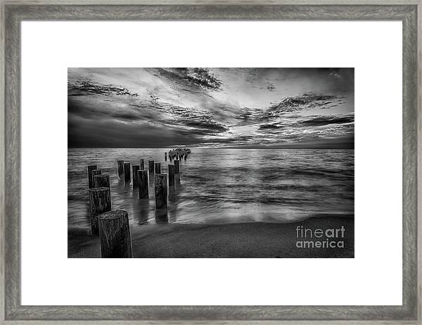 Naples Sunset In Black And White Framed Print