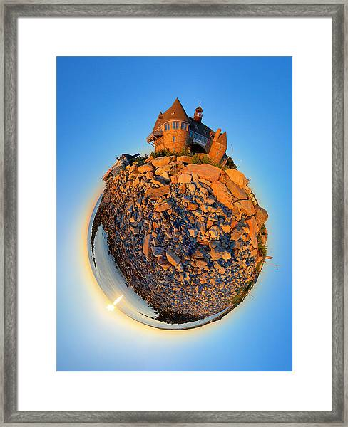 Narraganset Towers 2- Planet Framed Print by Christopher Blake