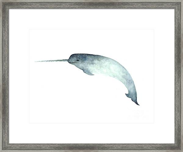 Narwhal Minimalist Painting For Nursery Room Framed Print