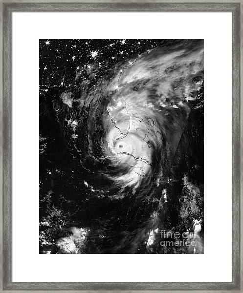 Nasa Hurricane Irma Between Cuba And Florida Satellite Image Framed Print