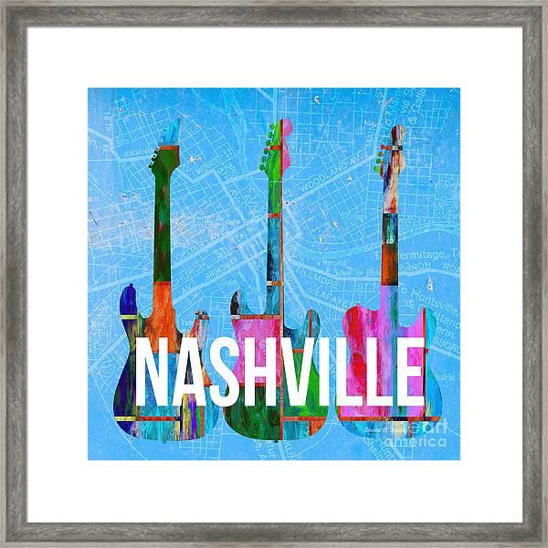 Nashville Guitars Music Scene Framed Print