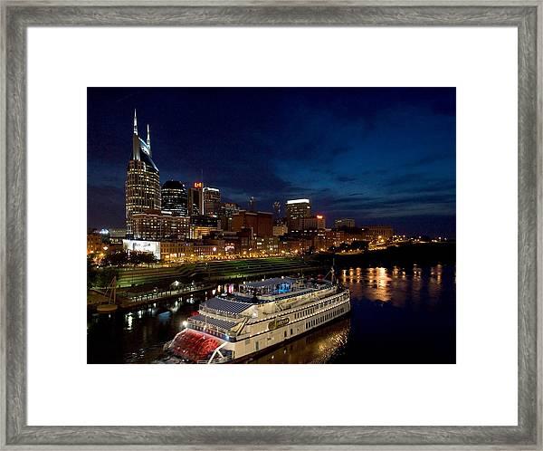 Nashville Skyline And Riverboat Framed Print