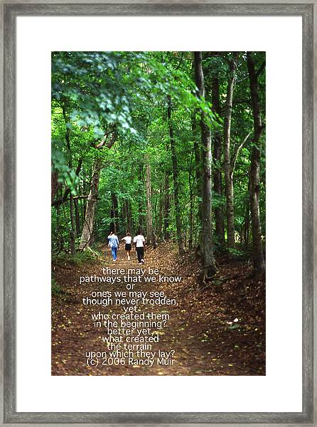 Natchez Trace Walkers With Poem Framed Print by Randy Muir