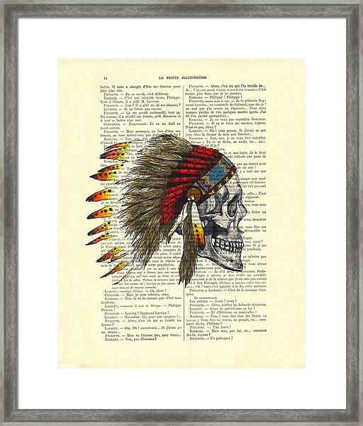 Native American Skull Framed Print