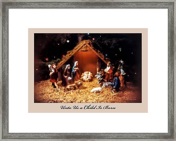 Nativity Scene Greeting Card Framed Print