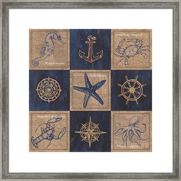 Nautical Burlap Framed Print