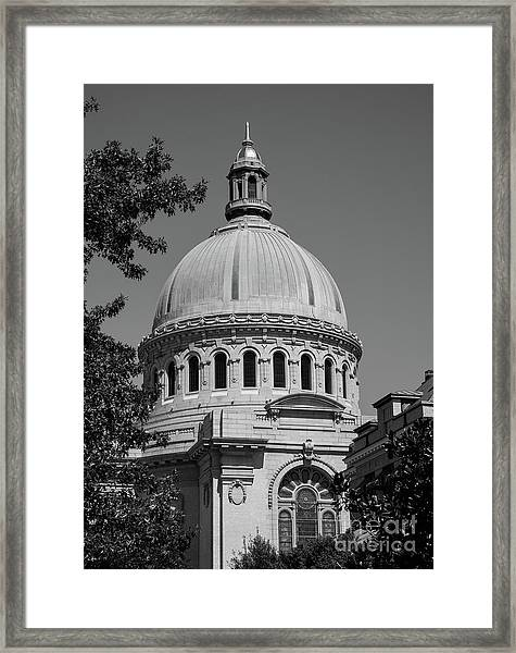 Naval Academy Chapel - Black And White Framed Print