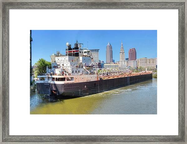 Navigating The Cuyahoga Framed Print