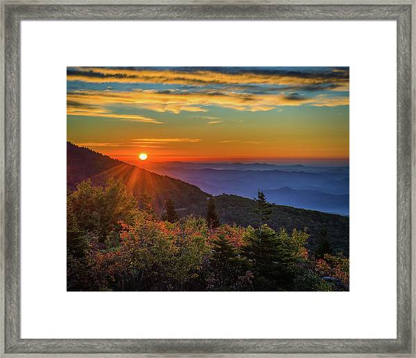 Nc Mountain Sunrise Blue Ridge Mountains Framed Print