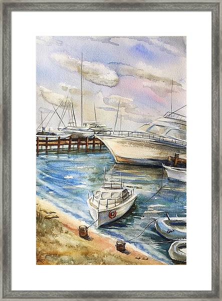 Framed Print featuring the painting Near The Harbour 2 by Katerina Kovatcheva