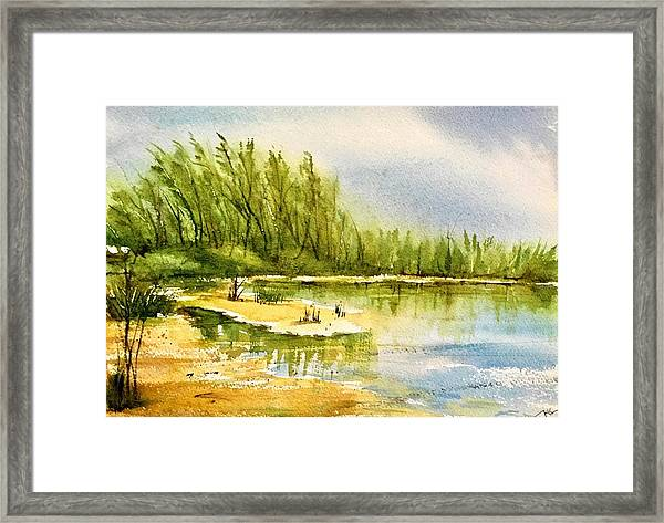 Framed Print featuring the painting Near The Lake 4 by Katerina Kovatcheva